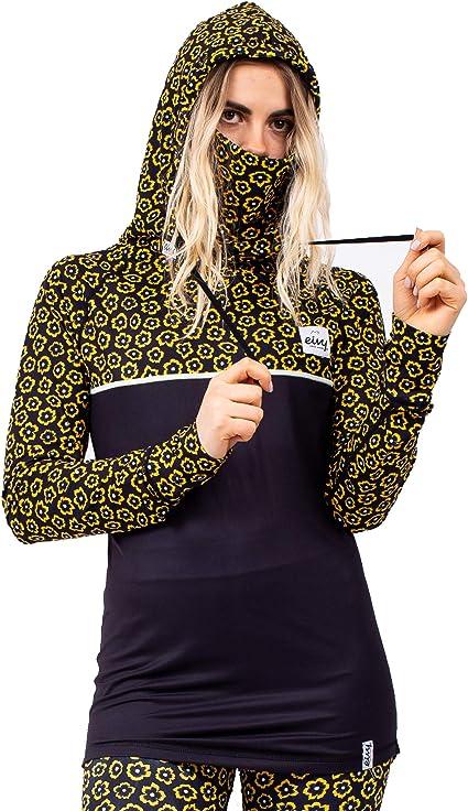 Mujer Eivy Icecold Top Damen Warme Ski-Thermo Funktionsunterw/äsche Langarm Mit Integriertem Fleece Neckwarmer Ropa Funcional