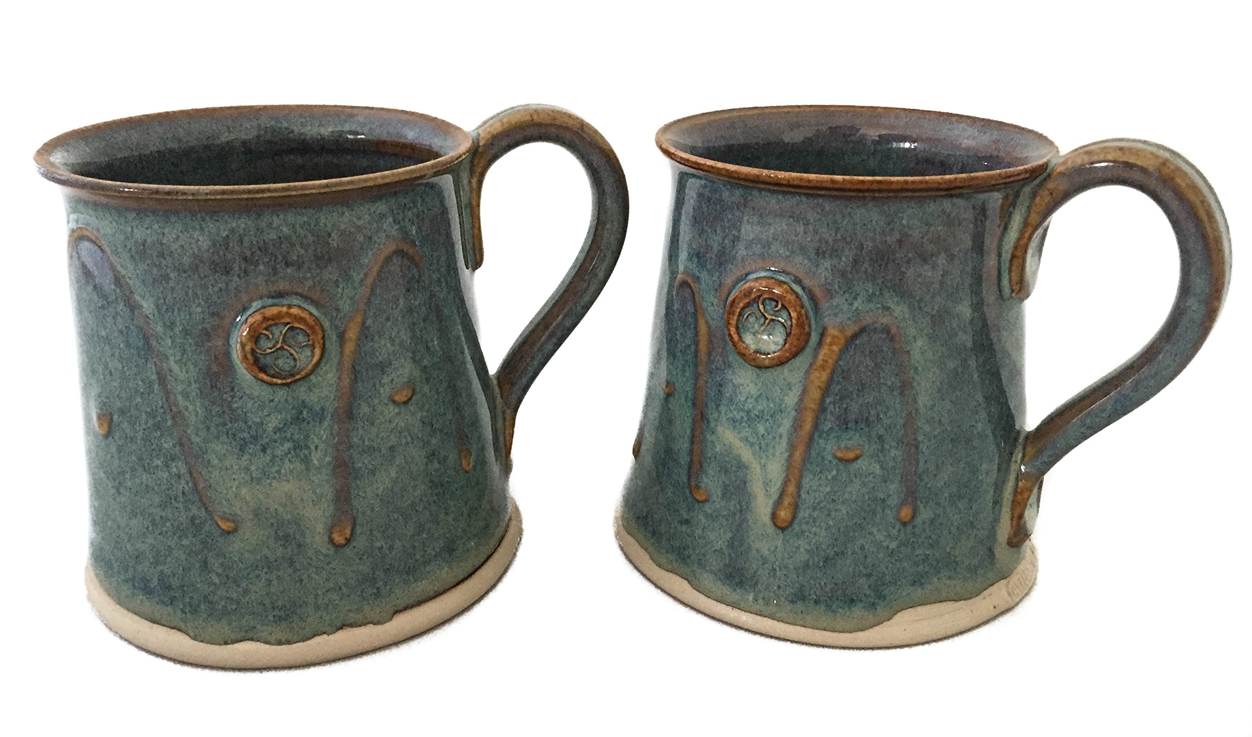 Irish Handmade Coffee & Tea Mug Set.Two Flared Cylinder Hand-Thrown Cups 300ml Green