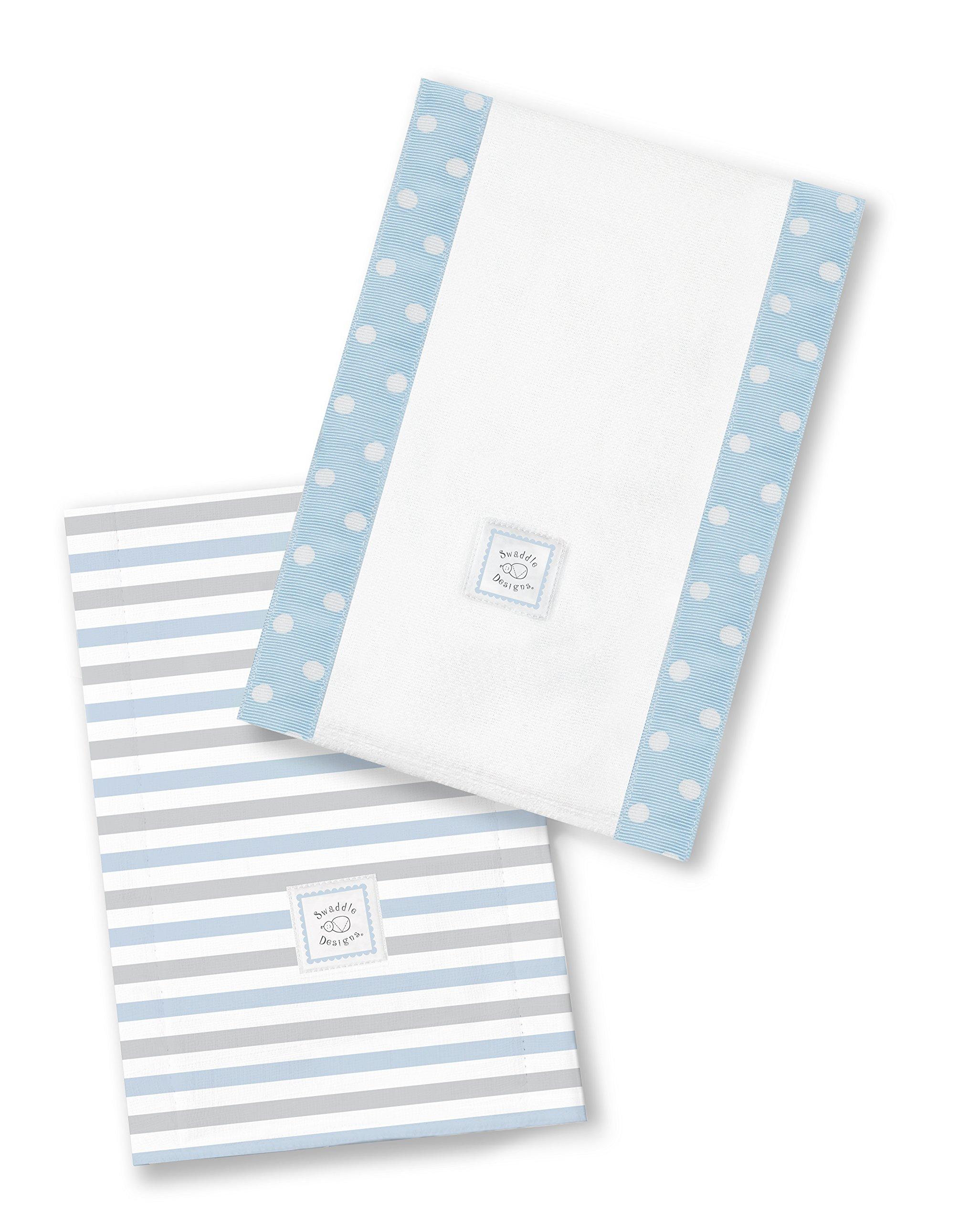 SwaddleDesigns Baby Burpies, Set of 2 Cotton Burp Cloths, Pastel Blue Simple Stripes
