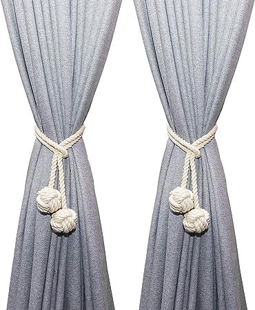 MengH-SHOP Cortina Abrazaderas Tejer a Mano Cortina Cuerda Colgante Sujetar Cortina Clips Tejido de Algodón Hilo Atados de Cuerda con Doble Bola de Nudo, Beige (1 Par): Amazon.es: Hogar