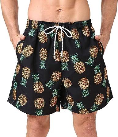 Mens Swim Trunks with Mesh Lining Pockets Pineapple Flamingo Boys Polyester Board Shorts Swimwear