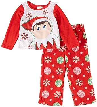 elf on the shelf girls christmas fleece pajamas xs 4 red elf - Girl Christmas Pajamas