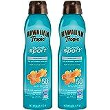Hawaiian Tropic SPF 50 Broad Spectrum Sunscreen, Island Sport Sunscreen Spray, 6 oz, Twin Pack