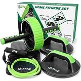 Set de ejercicio de alta calidad, 1 rueda de abdominales, 2 barras de flexiones, 1 tubo elástico con asideros, kit de ejercicio para casa, el gimnasio, la oficina, hoteles, de Zizz Fit