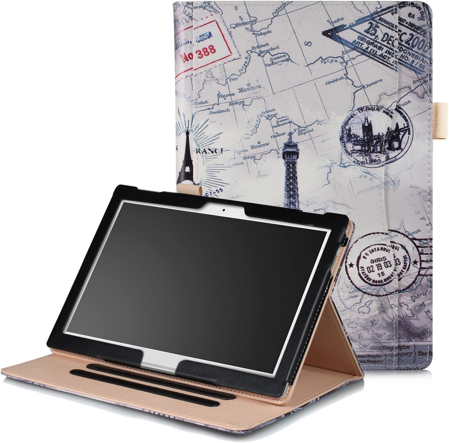 XBE Multifunctional Case for Lenovo Tab4 10 / Tab4 10 Plus / E10 X104 with Multiple Viewing Angles Built-in Hand holder , Eiffel