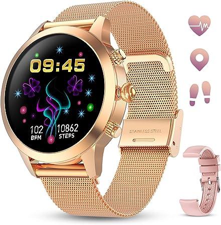 GOKOO Smartwatch Mujer Reloj Inteligente Pulsera de Actividad IP68 Impermeable Pulsómetros Elegante Reloj Inteligente Fitness Reloj Metal Monitoreo del Sueño Notificación Compatible con Android iOS.
