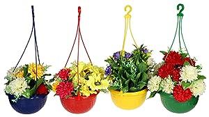 Klassic Hanging Planter Set (Set of 4, Plastic, Multicolor)