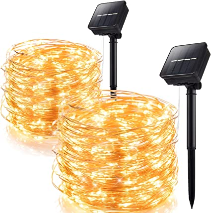 Luces de Navidad solares impermeable 66ft 200LED de alambre de cobre