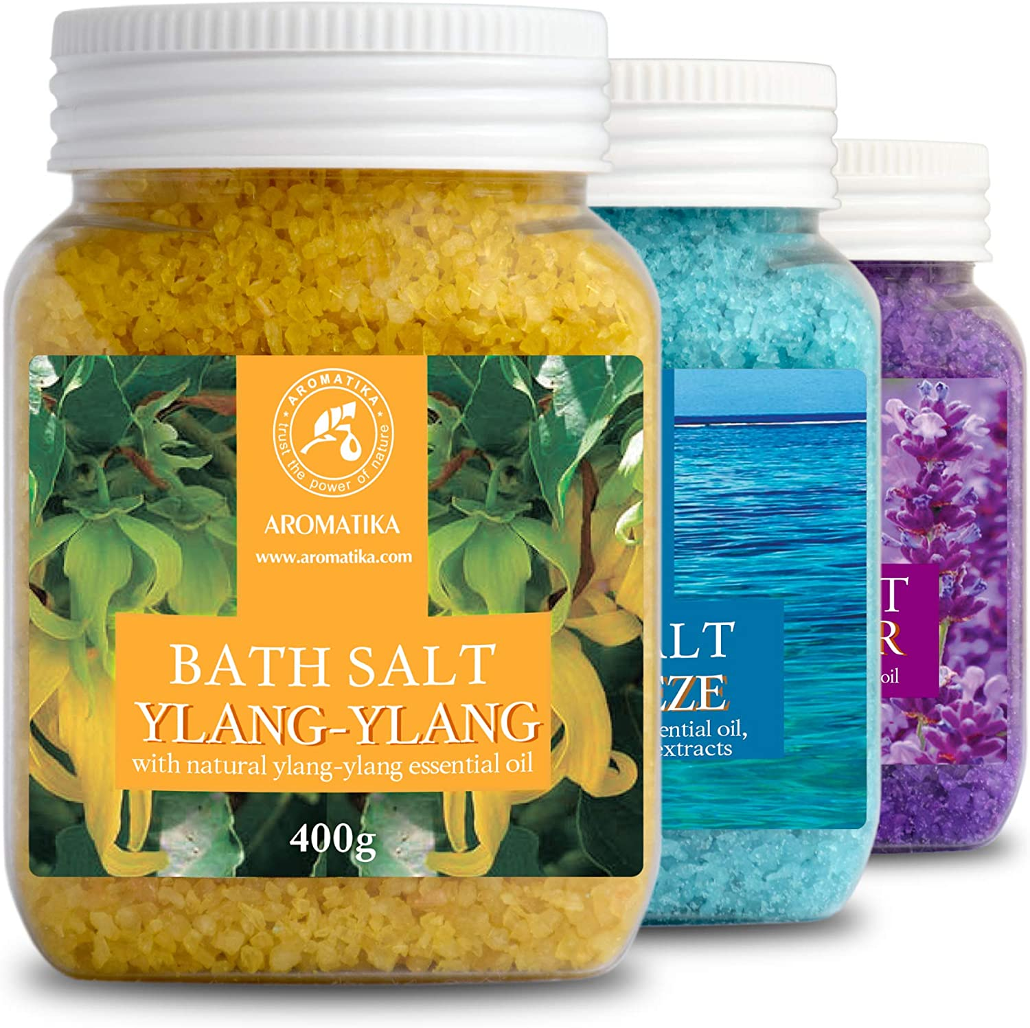 Bath Salts Set 42oz - Lavender - Sea Breeze - Ylang-Ylang - 100% Natural Essential Oil - Best for Good Sleep - Stress Relief - Bathing - Body Care - Beauty - Relaxation - Spa