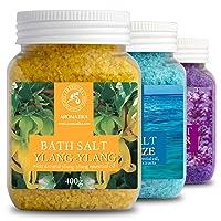 Set with 3 * 400g Bath Salts - Lavender - Sea Breeze - Ylang-Ylang - 100% Natural...