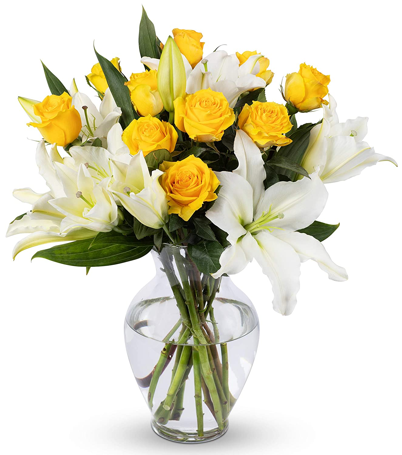 Amazon Com Benchmark Bouquets Yellow Roses And White Oriental
