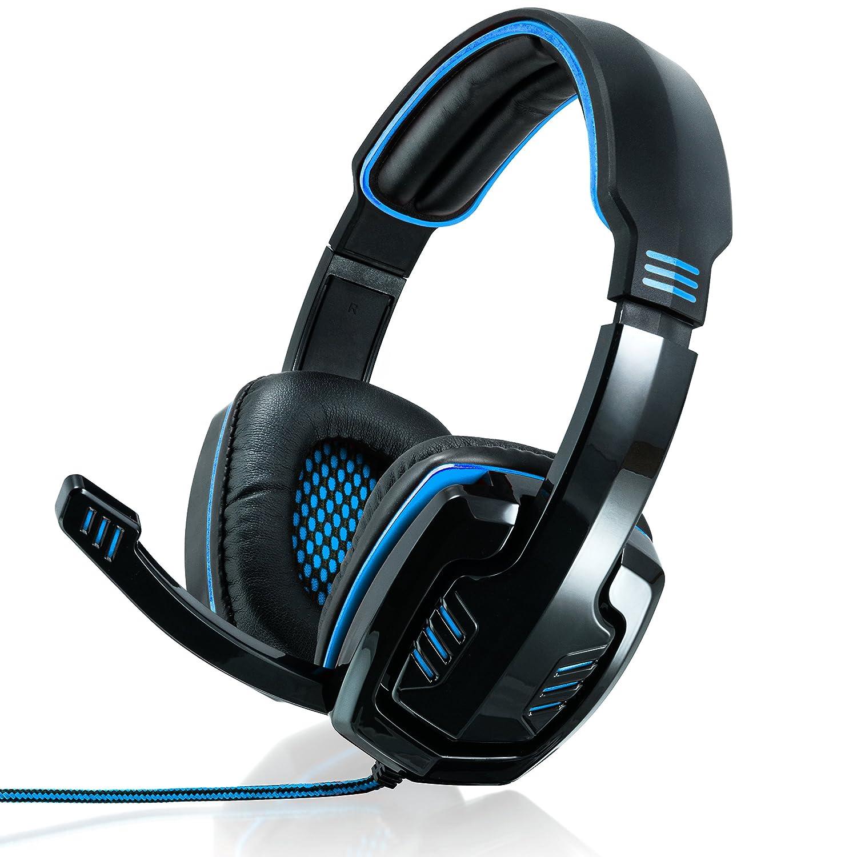 CSL – 7.1 USB Gaming Headset/Cuffie Sledgehammer incl. Compresa Scheda Audio Esterna | Gamingheadset Edition Gaming Plus (USB) | Imbottitura per Le Orecchie in Pelle Artificiale/Mesh-Inlay