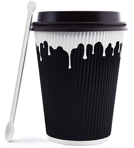 268a14b650a Hornbit Disposable Coffee Cups with Lids and Coffee Stirrers (Set of 50) -  12 oz Double Wall Insulated Hot Paper Coffee Cups - Stylish Beverage Cups  for Hot ...