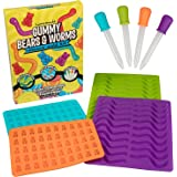 Gummy Bear & Worm Mold, BPA Free Silicone Candy Molds, Set of 4 Trays & Droppers for 140 Candies