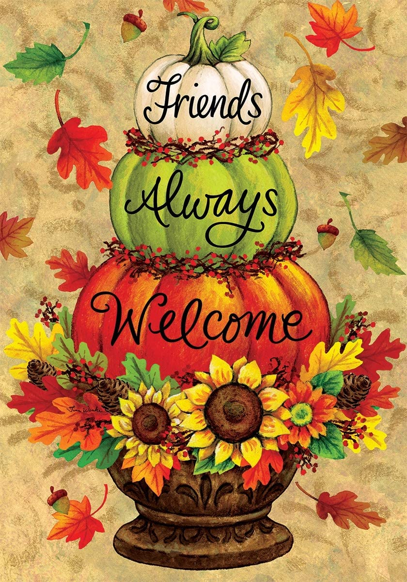 Custom Decor Pumpkin Topiary - Friends Always Welcome - Garden Size, Decorative Double Sided, Licensed and Copyrighted Flag - Printed in The USA Inc. - 12 Inch X 18 Inch Approx. Size