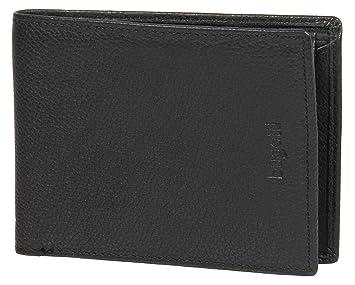 BUGATTI® monedero, cartera de cuero auténtico en formato apaisado | Cartera ligera y plana de caballero de cuero auténtico | negro: Amazon.es: Equipaje