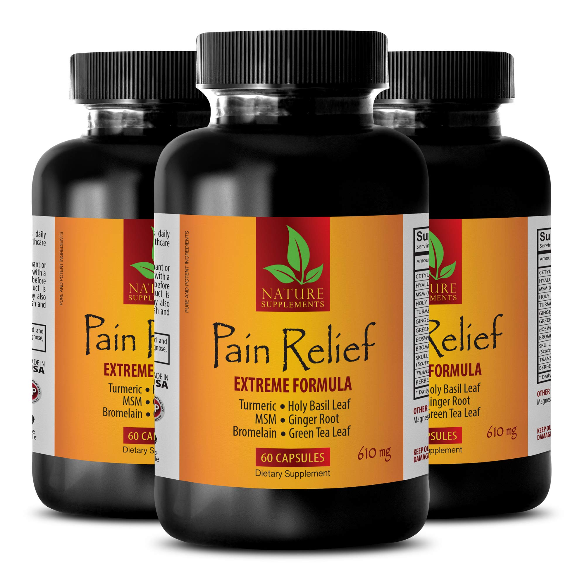 Joint Pain Complex Pills - Pain Relief 610MG - Extreme Formula - antioxidant All in one - 3 Bottles (180 Capsules)