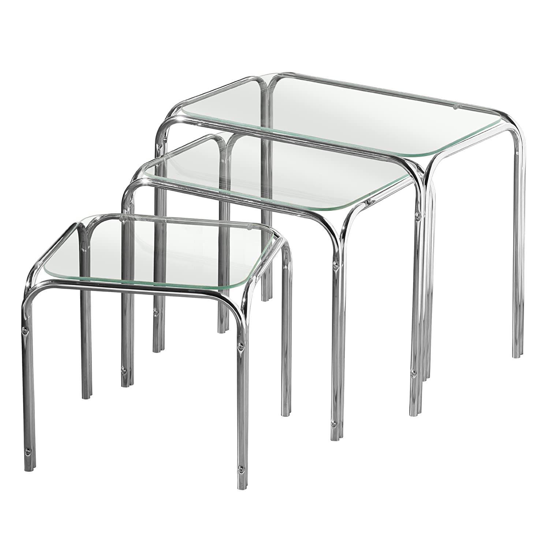 Premier Housewares Tische, verschachtelbar, mit Glasplatte und Chrombeinen, 39 x 46 x 30 cm, 3-teiliges Set