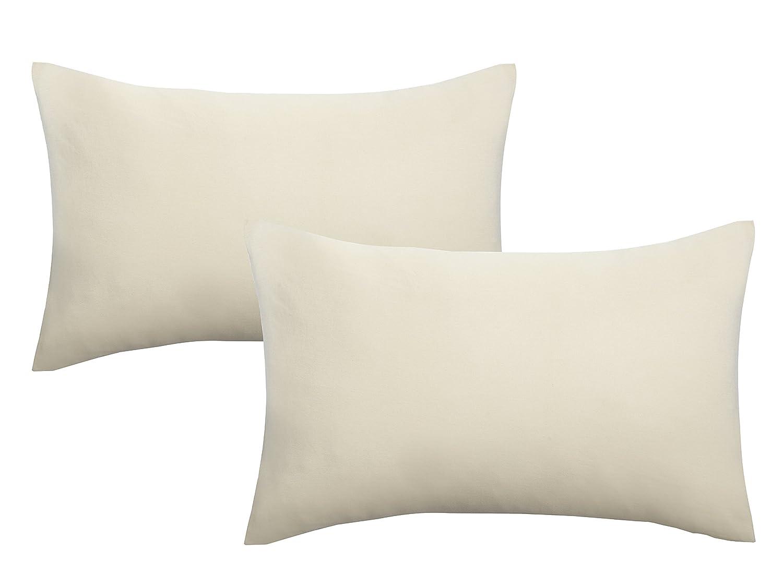 Biberna 0077144 Jersey de Fundas de Almohada de algodón 100% con Cremallera, Pack de 2, 40 x 60 cm Natural, 27 x 18 x 3 cm