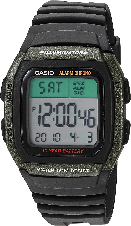 Casio Men's Classic Quartz Resin Strap, Black, 21.5 Casual Watch (Model: W-96H-3AVCF)