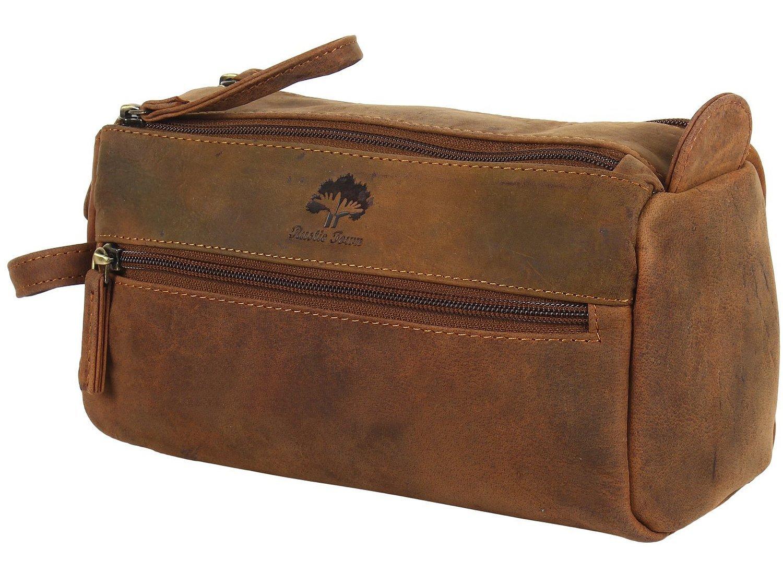 Handmade Buffalo Genuine Leather Bag toilette Dopp kit da barba e Grooming Kit per la corsa ~ regalo per Uomo Donna ~ Hanging cerniera trucco Bagno Cosmetic della cassa del sacchetto da Rustic Town (B PNR Crafts TB231311FLRUK-P