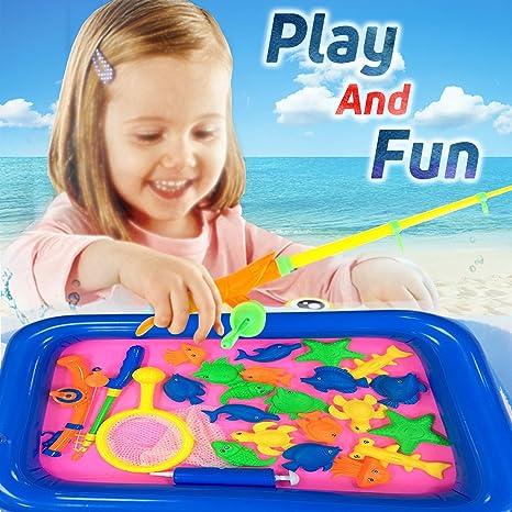 Amazon Com Ereon Kid Bath Beach Toys Magnetic Floating Fishing Game