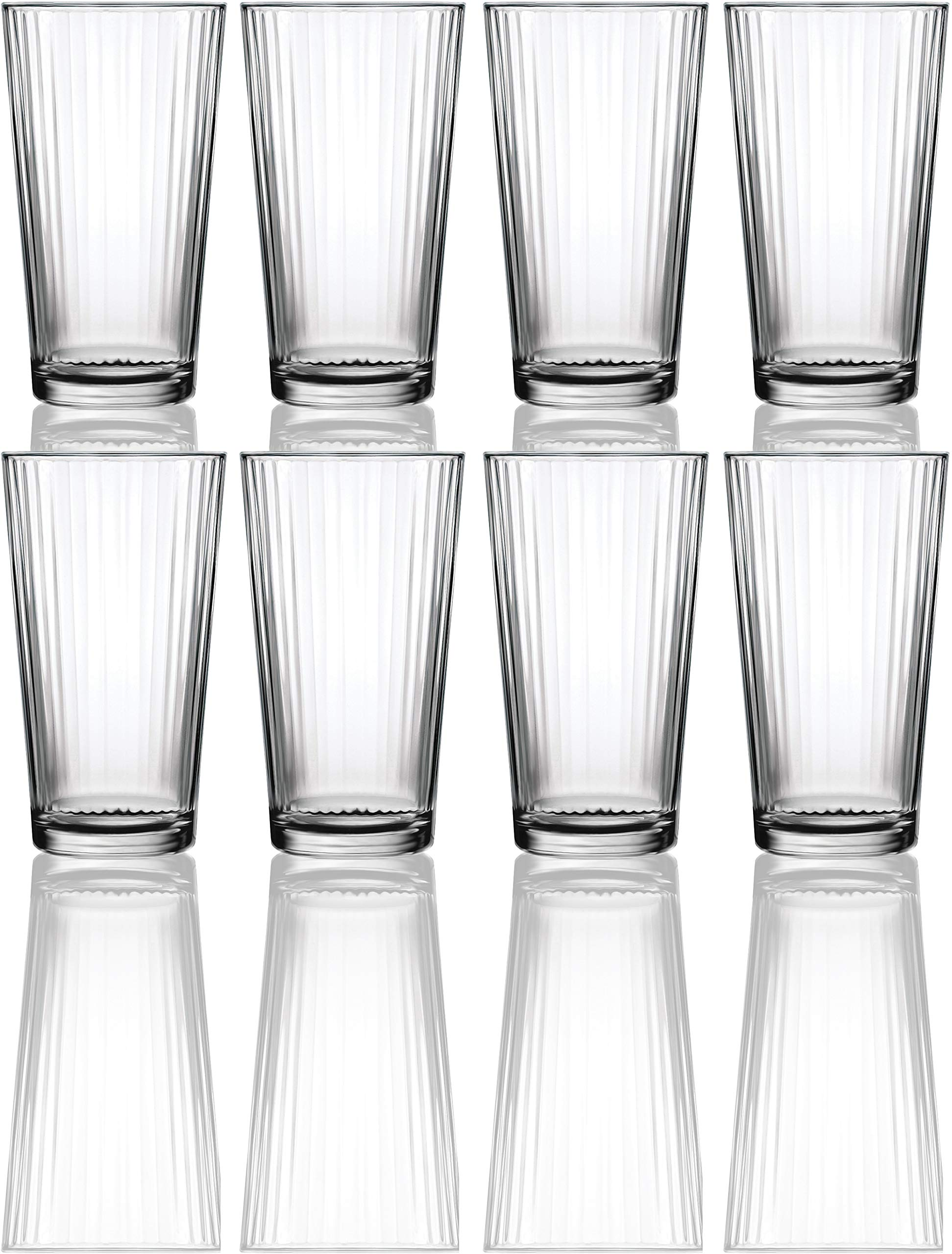 Circleware 40105 Hill Street Set of 8 Heavy Base Highball Tumbler Drinking Glasses, 15.75 oz Beverage Cups for Water, Juice, Milk, Beer, Ice Tea and Farmhouse Decor 8pc Spectrum