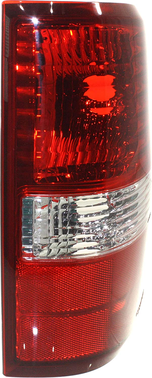 Tail Light Lens and Housing Compatible with 2004-2006 Ford F-150 Red//Clear Styleside New Body Style Set of 2 Passenger and Driver Side