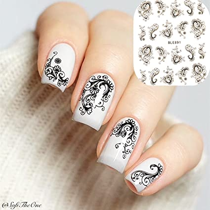 Amazon 11 Designs Lace Daisy Black White Flower Feather Nail
