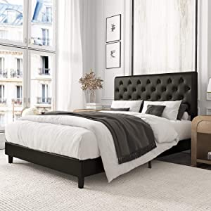 Amolife Queen Bed Frame,Upholstered Modern Tufted Platform Bed with Adjustable Headboard,Mattress Foundation,Wood Slat Support Black
