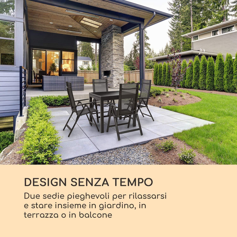 Blumfeldt Cádiz Garden Chair • Silla de jardín • Silla Plegable • Juego de 2 • 59,5 x 107 x 68 cm • Respaldo de 7 Posiciones • Tejido Impermeable y ...