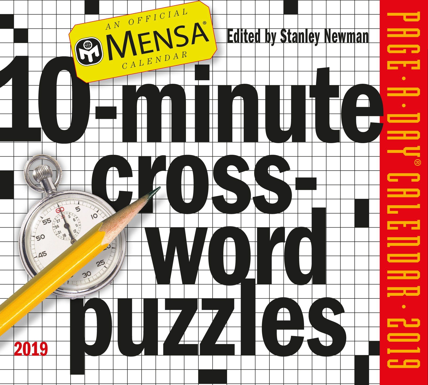 Mensa 10-Minute Crossword Puzzles Page-A-Day Desk Calendar 2019 [5.5'' x 6'' Inches]