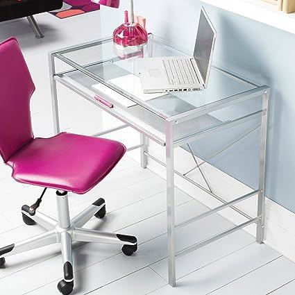 Amazoncom Mainstays Glass Top Desk Black Kitchen Dining