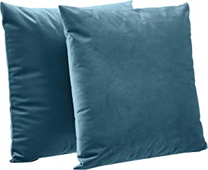 "AmazonBasics 2-Pack Velvet Fleece Decorative Throw Pillows - 18"" Square, Deep Teal"