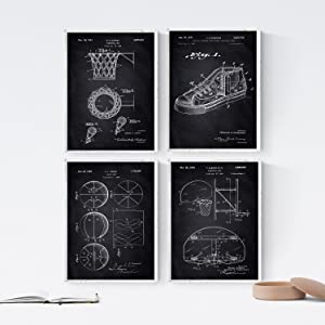 Nacnic Prints Vintage Patents Hoop - Set of 4-250g Paper - Beautiful Poster Painting for Home Office Living Room