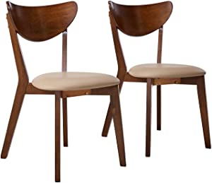 Kersey Dining Side Chairss with Curved Backs Off-white and Chesnut (Set of 2)