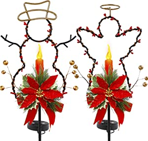 Lulu Home Solar Lighted Christmas Yard Stakes, 2 Pack 32 Inch Snowman Angle Solar Powered Lighted Metal Stakes for Lawn, Pathway, Sidewalk, Garden Outdoor Decoration