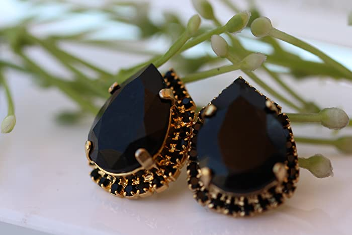 7ed3384f404ab Amazon.com: Swarovski Stud Earrings. Black Swarovski & Gold Earrings ...