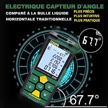Enegitech T/él/ém/ètre laser portable 50 m avec capteur dangle /électronique pour la zone le volume la pythagore
