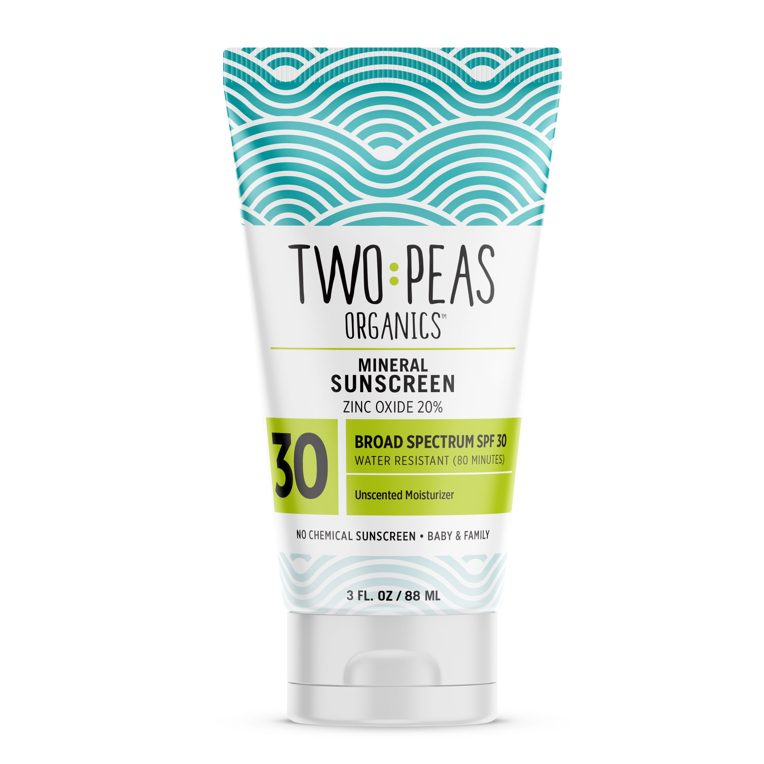 Two Peas Organics SPF 30 Mineral Sunscreen for Women, Men, Kids & Baby Friendly, Coral Reef Safe Natural Sun Screen Lotion, Waterproof & Unscented, 3oz by Two Peas Organics