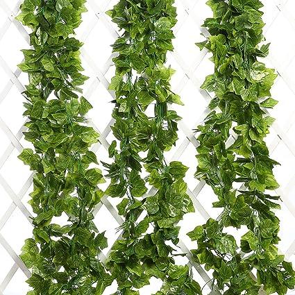 JHZHK 48 Pcs//Lot Artificielle Raisin Lierre Feuilles Tenture Verte Plantes Feuillage De Vigne Maison Jardin Guirlande Fleurs d/écoratives 240 cm