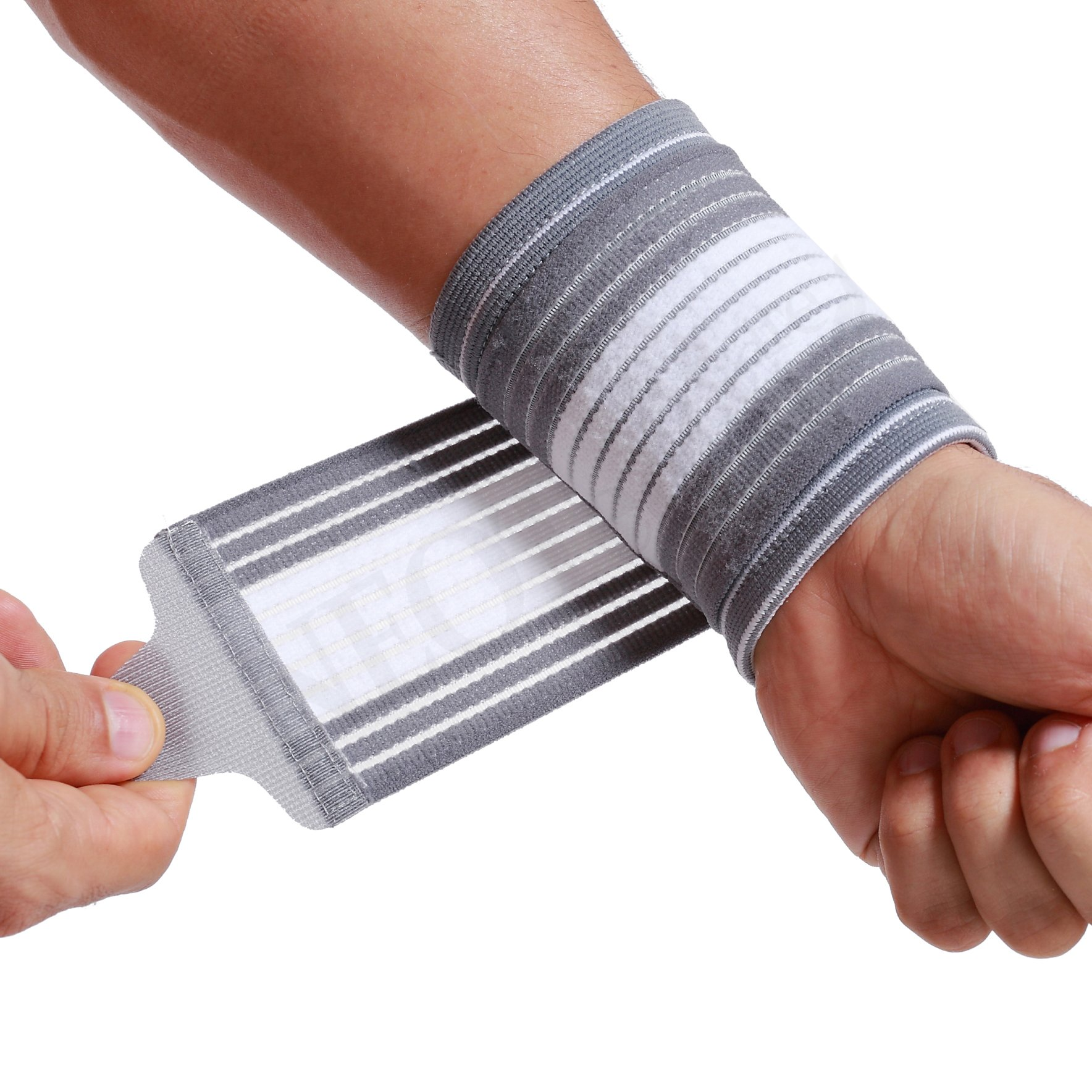 Neotech Care Wrist Band, Support, Sleeve - Adjustable Compression Strap - Elastic & Breathable Fabric - for Tennis, Sports, Exercise - Men, Women, Right or Left - Grey Color (Size M)