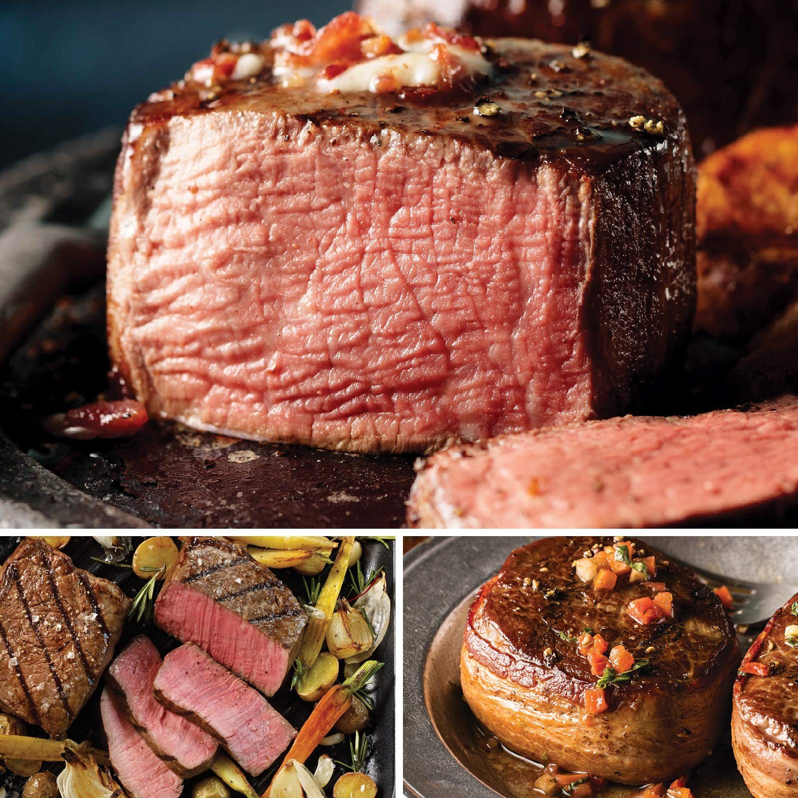 Omaha Steaks Sizzling Steak Sampler (12-Piece with Filet Mignons, Top Sirloins, and Bacon-Wrapped Tri-Tips)