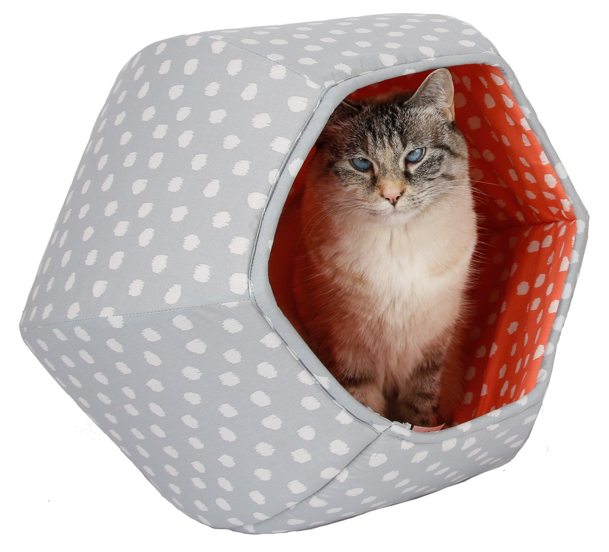 Grey and Coral Polka Dots Cat BallCat Bed