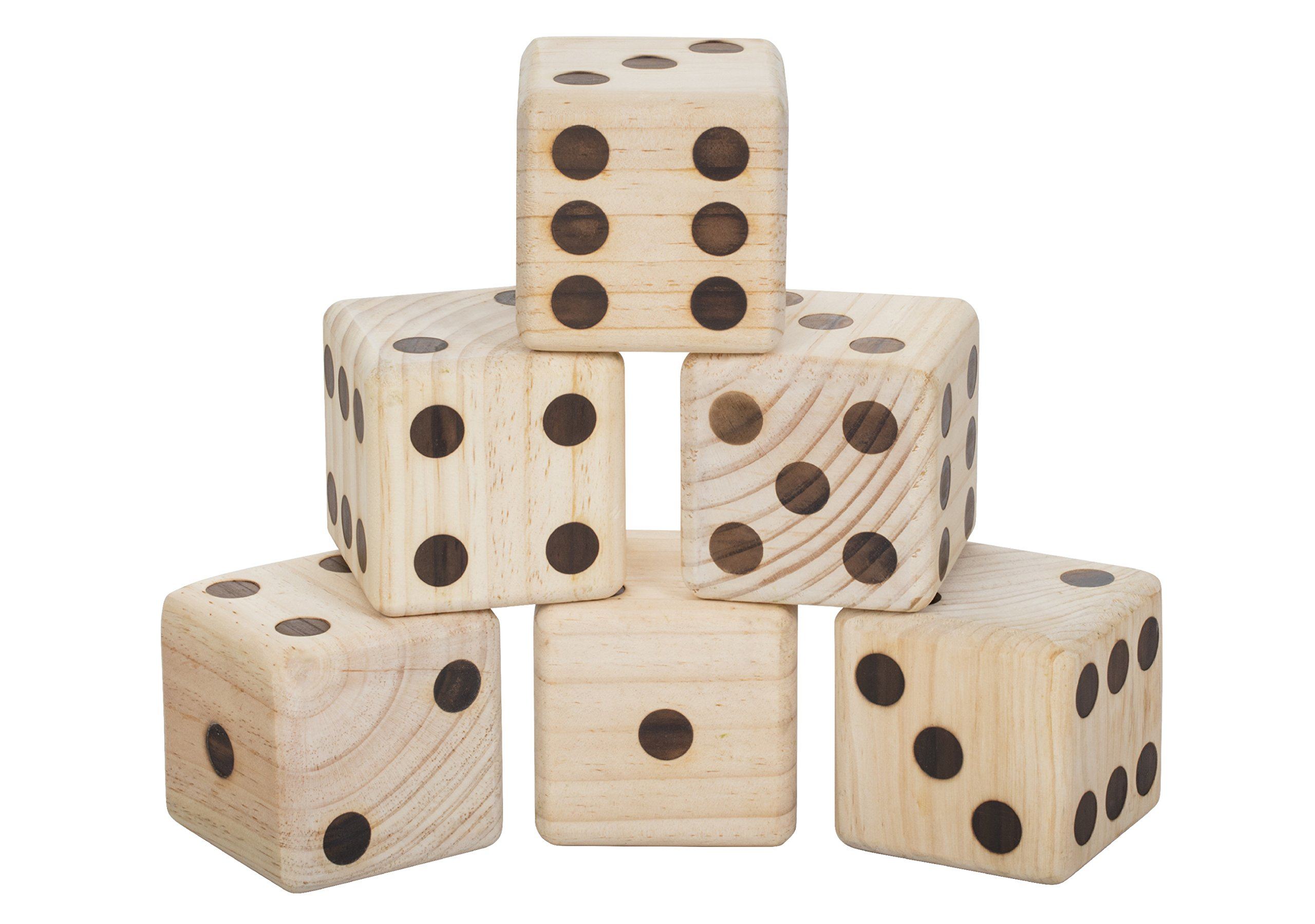 Triumph Extra-Large 3.5'' Outdoor Wooden Lawn Dice Set Includes Six Dice and Carry Bag