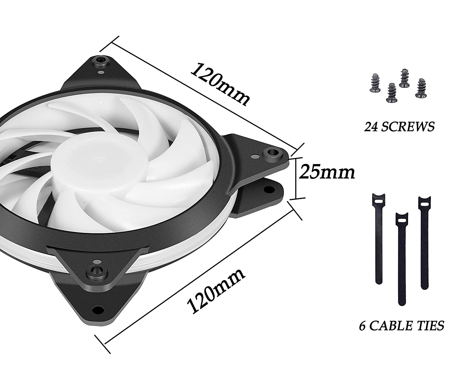 upHere T3RD3-6 LED Quiet Edition High Airflow 120mm Case Fan 6 Pack-Red,T3RD3-6