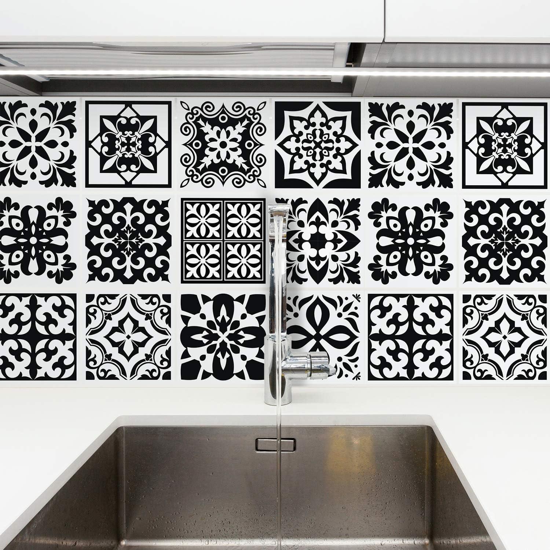 Walplus Calli Black And White Mediterranean Wall Tile Sticker Set 15 X 15 Cm 6 X 6 In 24 Pcs Diy Art Home Decorations Decals Kitchen Decor Bathroom Ideas Amazon Co Uk Kitchen Home