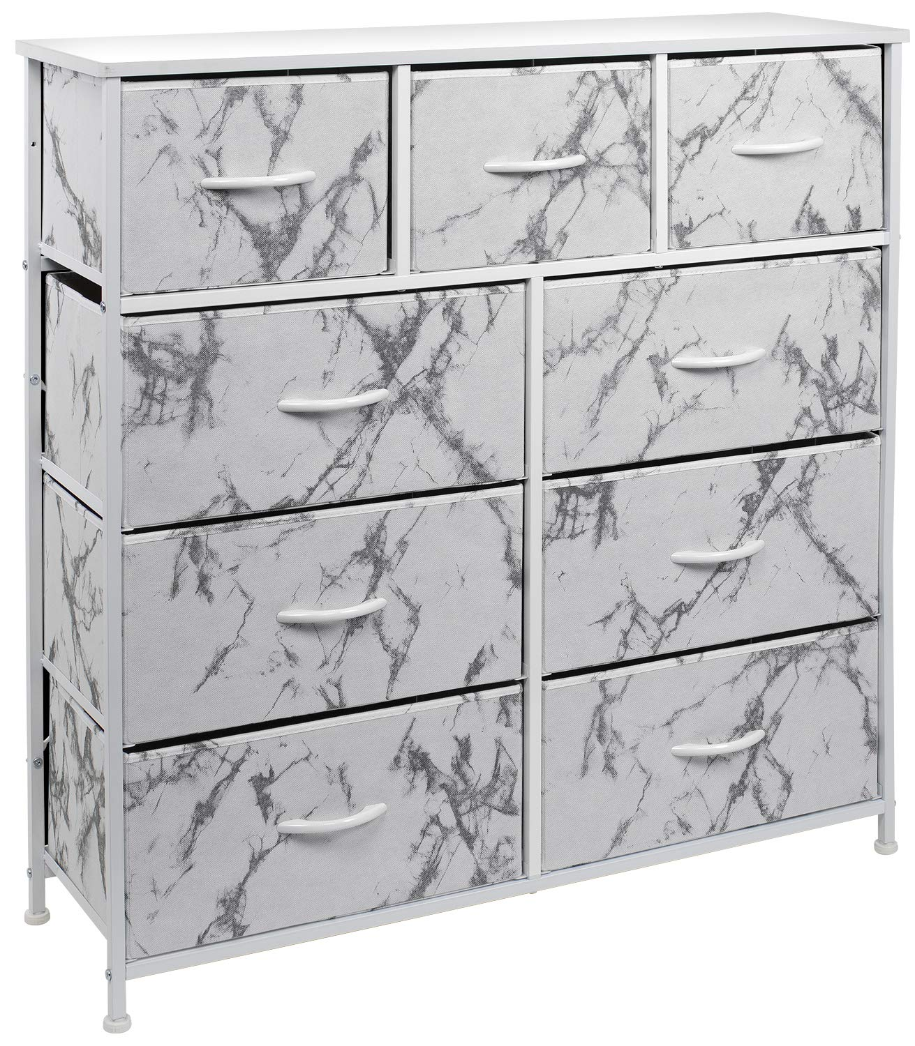 Sorbus Dresser with 9 Drawers - Furniture Storage Chest Tower Unit for Bedroom, Hallway, Closet, Office Organization - Steel Frame, Wood Top, Fabric Bins (Marble White – White Frame)