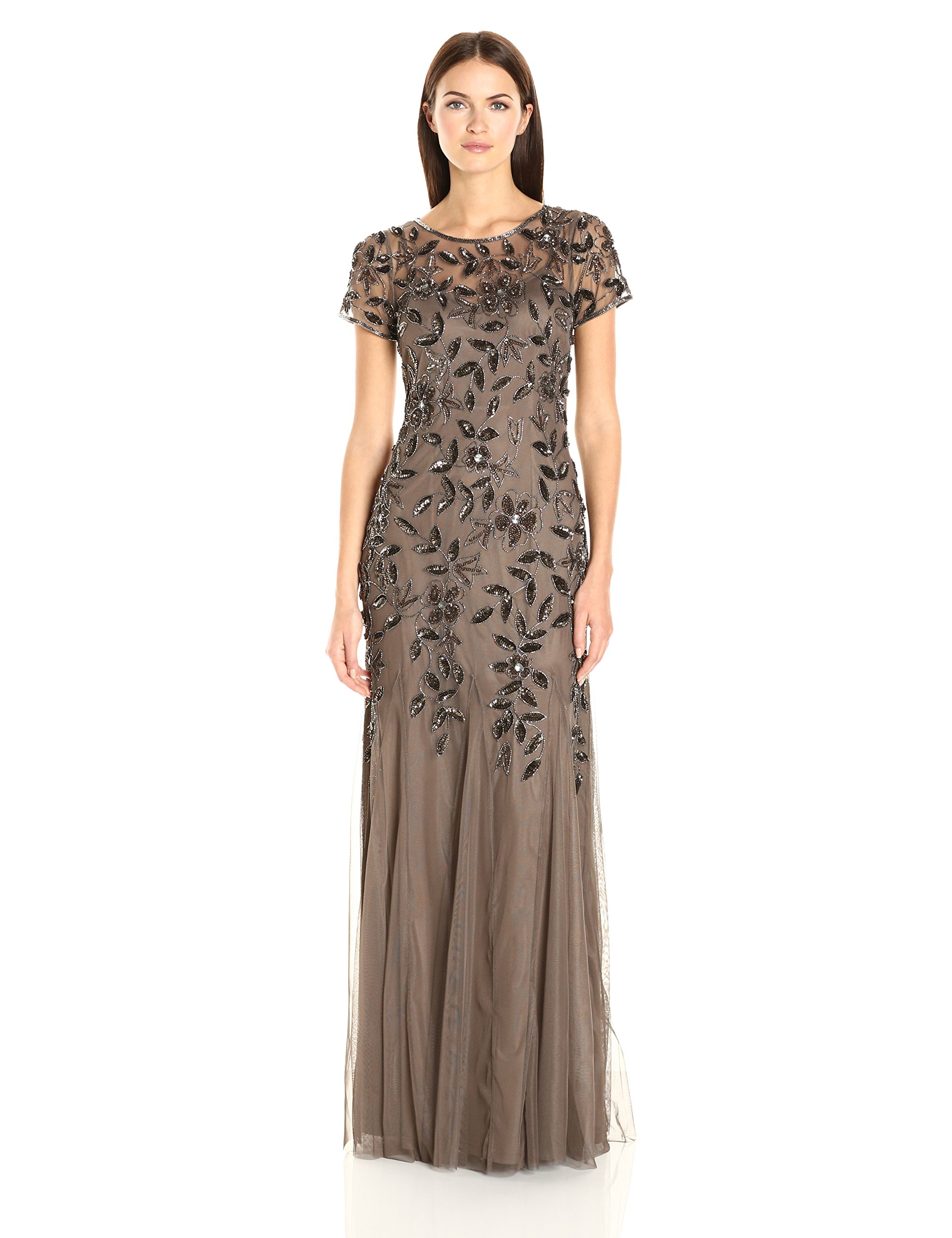 90239cb1c1 Adrianna Papell Floral Beaded Godet Gown With Short Sleeves – DACC
