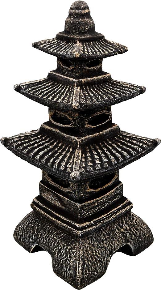 Masiva linterna japonesa de piedra con forma de pagoda, de piedra artificial, resistente a las heladas, multicolor, 46 cm: Amazon.es: Jardín